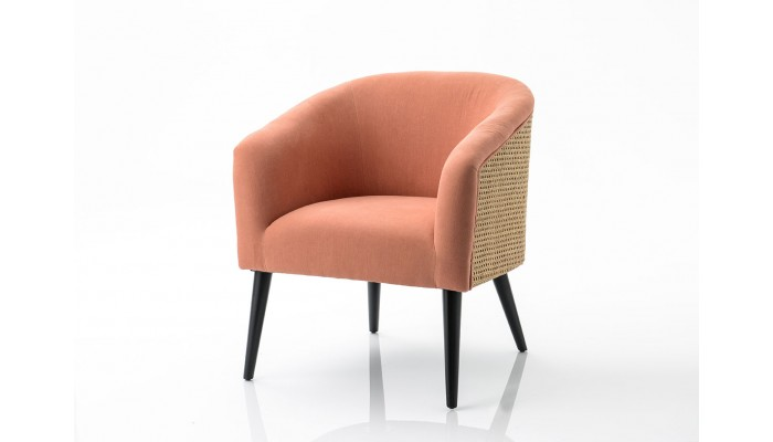 Fauteuil cannage rose ELODIE