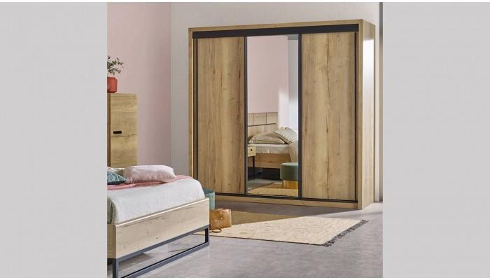 EIFFEL - Armoire 2 portes miroir